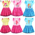 3-8 anos 2016 verão bebê menina vestido de renda crianças pony impresso roupas crianças asas de manga curta roupas de festa traje de aniversário