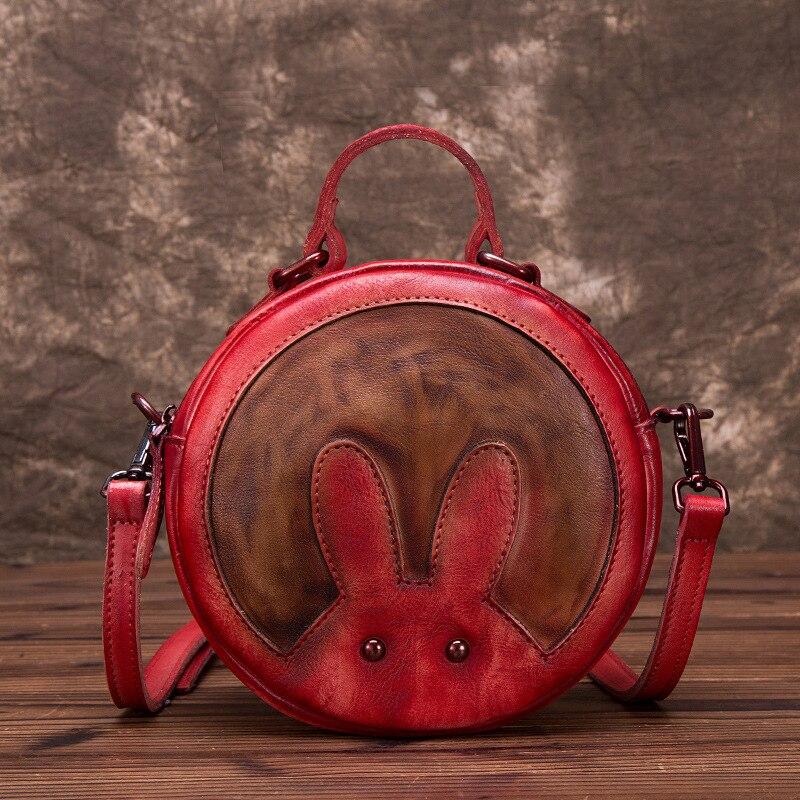 Peau naturelle épaule Messenger circulaire sacs motif de lapin petites filles mignon fourre-tout sac à main en cuir véritable femmes Top poignée sac - 3