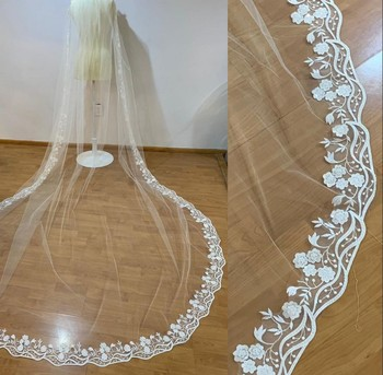 2020 Customized Bridal Veils Cathedral Length Lace Appliqued Edge Wedding Veils One Layer Bridal Veil With Free Comb