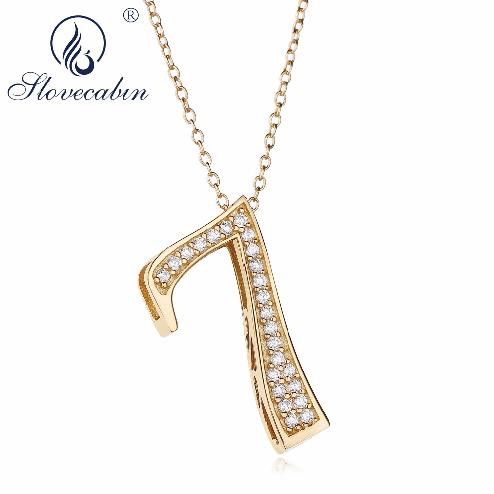 Slovecabin 925 Sterling Silver Bijoux Female Gold Color Number 9 Pendant Japan Luxury CZ 0 Letter 7 8 Pendant Chain Necklace