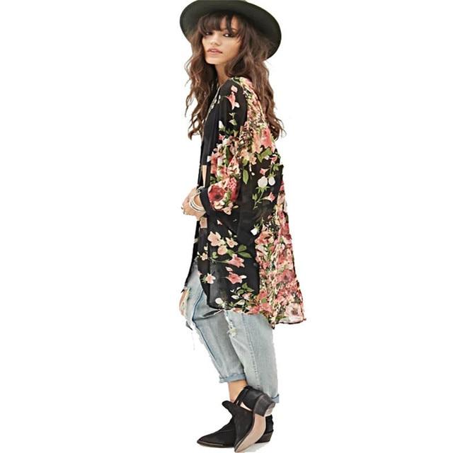 7465edd23d 2018 spring summer wholesale new women Flower floral printed chiffon long  kimono cardigan jacket bikini outwear Blouse  40