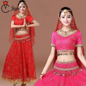 Image 2 - 인도 댄스 의상 볼리우드 드레스 사리 댄스웨어 여성/어린이 밸리 댄스 의상 세트 7 개