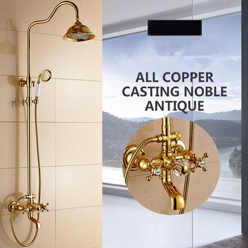Европейский голову дождя Ретро Античное золото латунь кран Ванная комната Душ костюм настенный душ с полным Интимные аксессуары