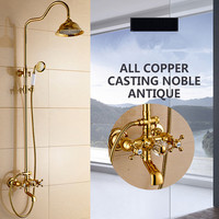 European Rain Head Retro Antique Gold Brass Faucet Bathroom Shower Suit Wall Mounted Shower Set With