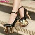 VALLKIN YHC Nueva Caliente zapatos de tacón alto 16 cm zapatos del remache zapatos de plataforma de tacón alto del diamante zapatos de tacón alto