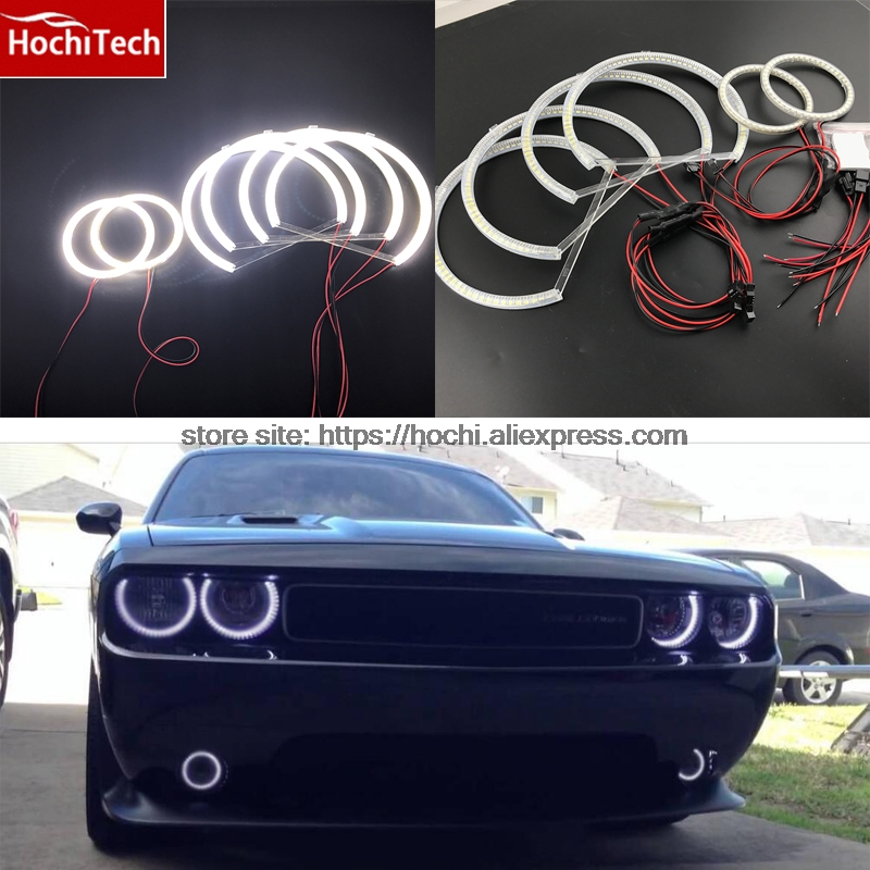 все цены на  Excellent SMD 5050 LED white headlight halo angel demon eyes kit for Dodge Challenger 2008 2009 2010 2011 2012 2013 2014  онлайн