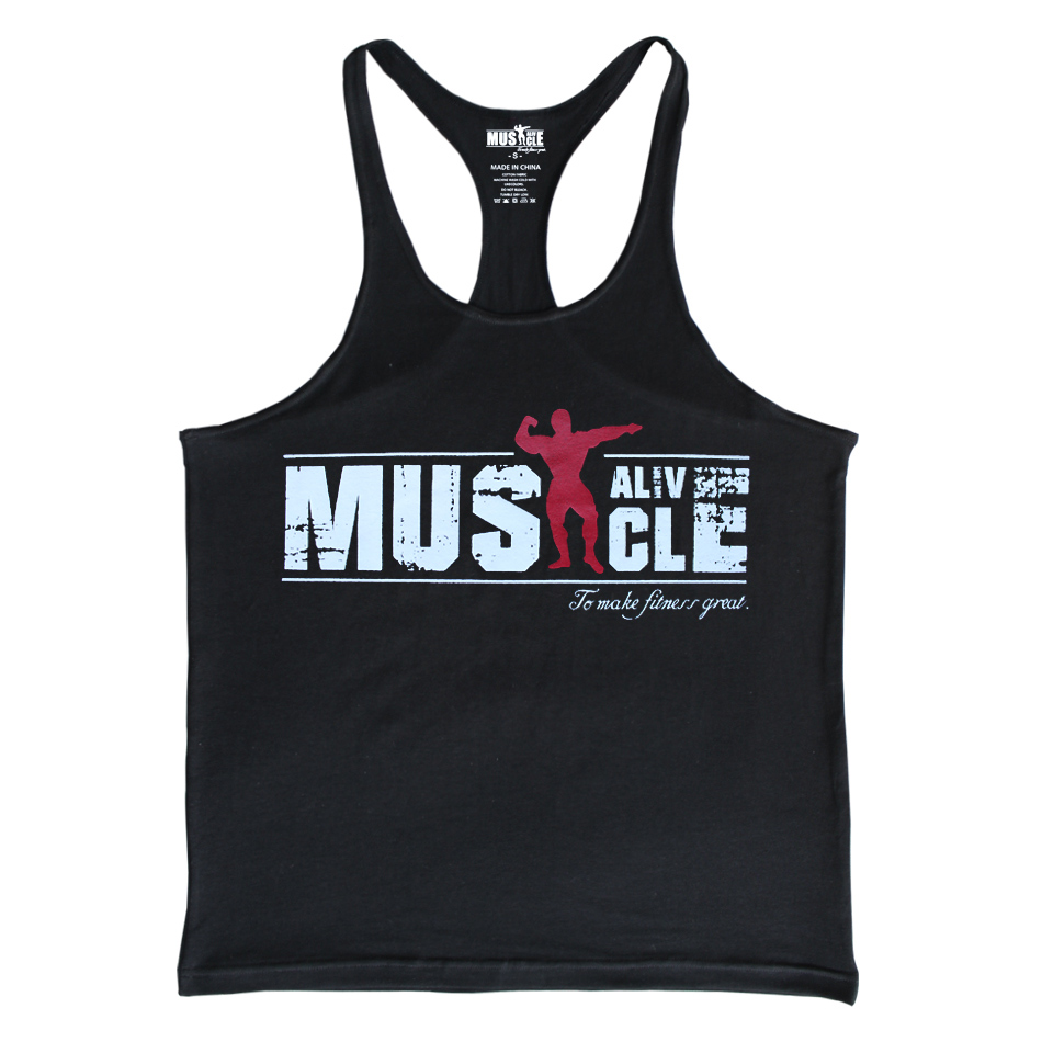 0501624834ed35 MUSCLE ALIVE Men s Bodybuilding Stringers Brand Gym Clothing T ...