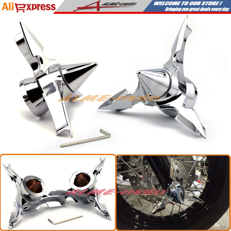 Motorcycle Front Axle Spun Blade Pointed Spinning Axle Caps Cover For Harley Dyna Softail Electra Glide Touring V-Rod Chrome tc02311010047 tc0231101004 the housing for front axle