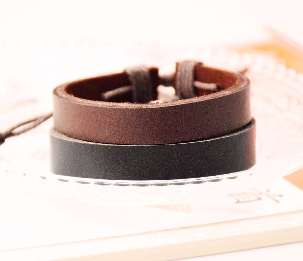 Leather bracelet New style black and coffee plain bracelets Handmade cow Surfer Handmade Bangle Jewelry men bracelets pulseiras ...