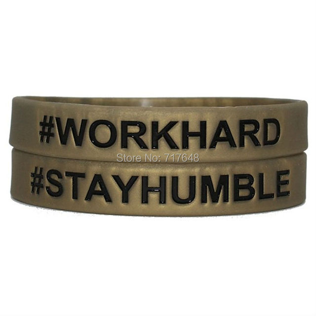 200pcs Gold With Black Work Hard Stay Humble Wristband Silicone Bracelets Free Shipping By Fedex