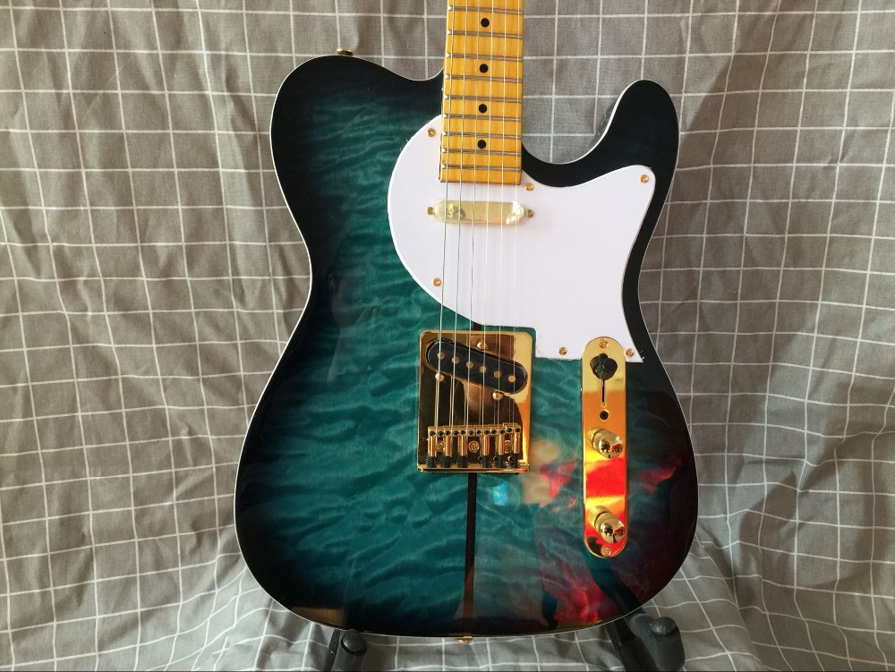 Free Shipping New Tiger maple top Merle Haggard Signature TUFF DOG blue Electric Guitar with Golden Hardware 17 12
