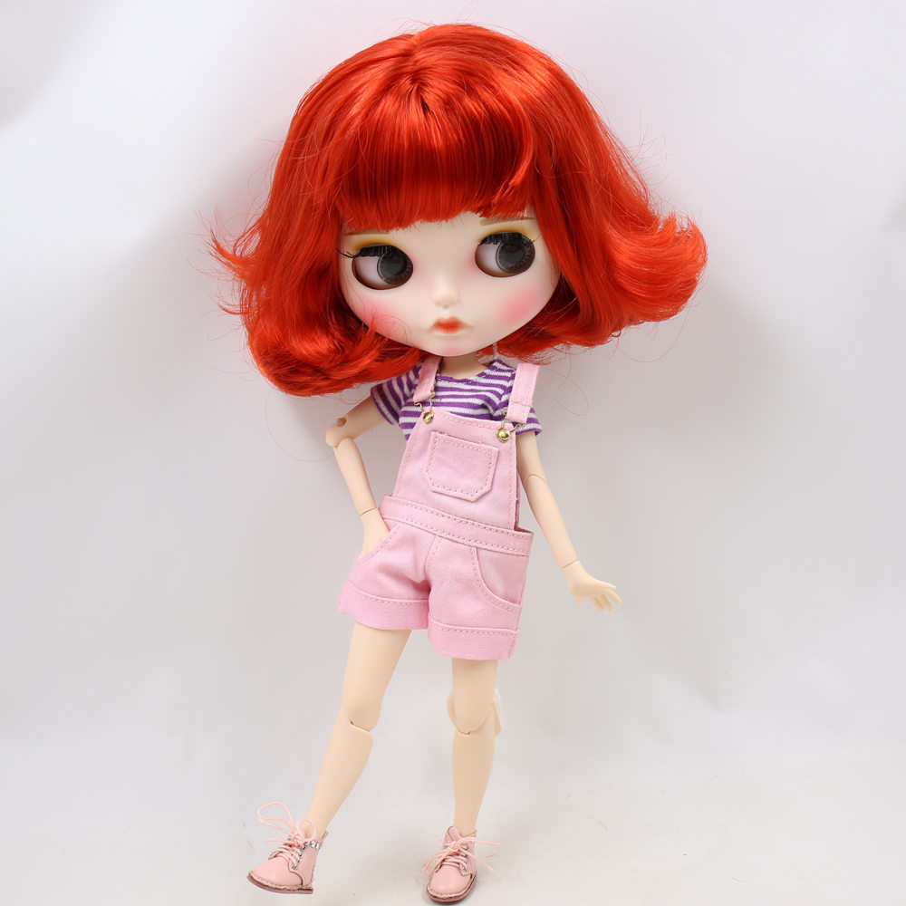 Icy Nude Blyth Doll No.bl1248 Red Hair Carved Lips Matte Customized Face Joint Body 1/6 Bjd Dolls