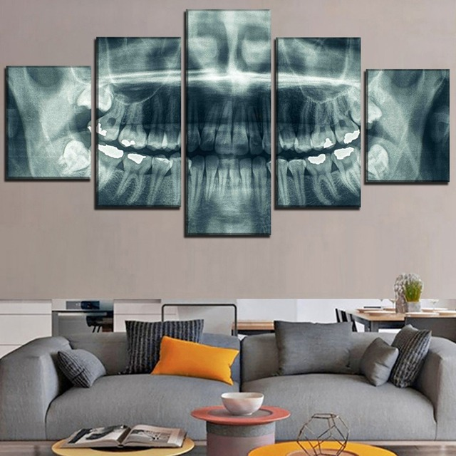 5 PANEL ABSTRACT SKULL OF TEETH WALL POSTER