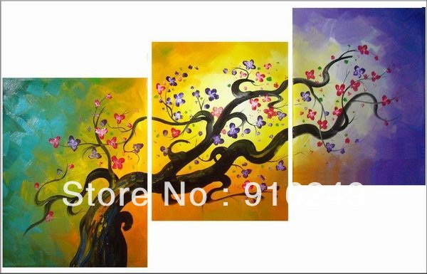 New Designed 3 Panels 100% Handpainted 3 Piece Plum Blossom Oil ...