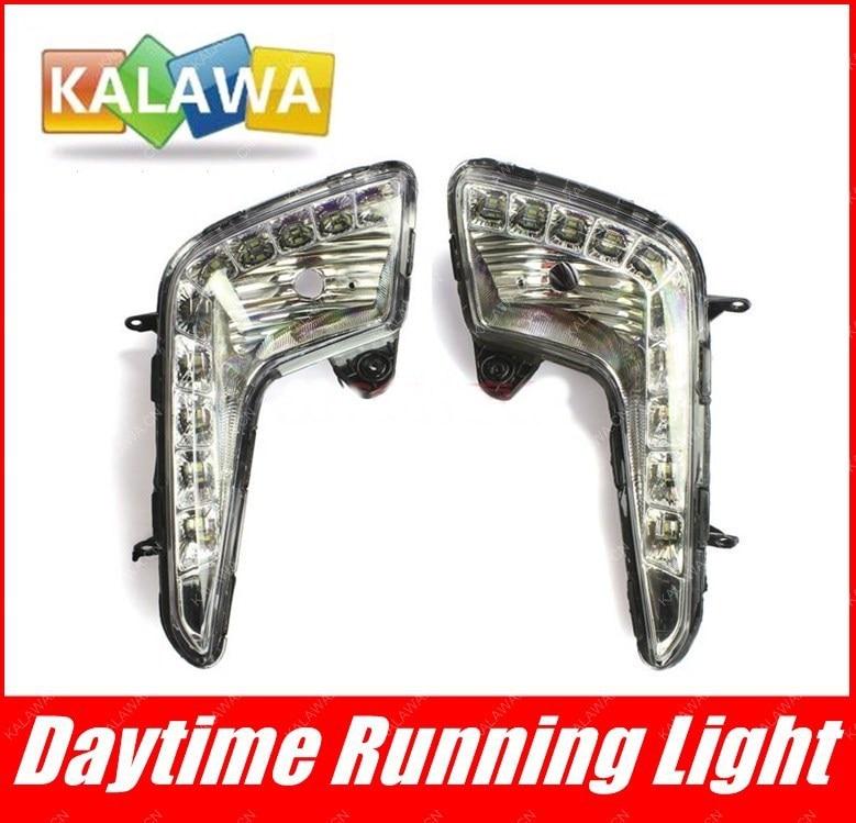 one pair  LED daytime running lights,DRL case for KIA K2  , high power fog lamp assembly,highlighting GGG one pair car led interior lamp luggage compartment light case for audi vw skoda seat k 030901 freeshipping ggg