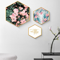 Nordic Style Hexagonal Painting Picture Frame For Home Decor Background Creative Quality Photo Frames Hanging Wall Frames 1 PC