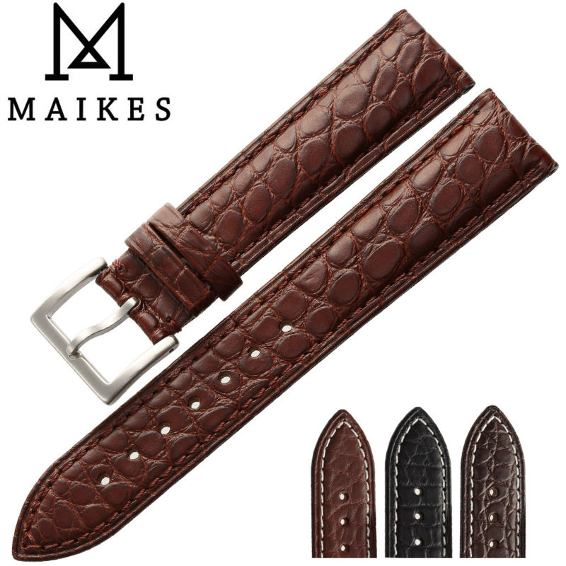 MAIKES HQ 16 18 20 22 24 mm Genuine Alligator Leather Strap Watch Band Brown With Pin Buckle Men Watchbands Bracelet Accessories wholesale fine fashion men women sunglasses 3592554 with leather buckle size 56 18 130 mm