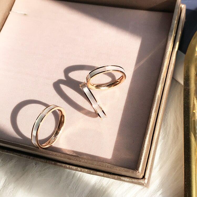 Простое и Шикарное Кольцо YUN RUO из натуральной ракушки, розовое золото, подарок на день рождения, женская мода, ювелирные изделия из титаново...