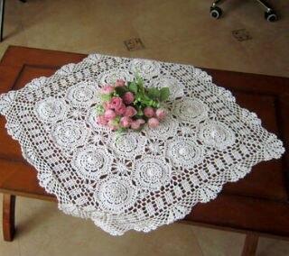 90x90 cm 36 pouces crochet nappes napperon carre crochet fait main dentelle nappe tabletopper