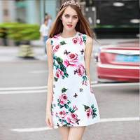 XF New Shop Special High Quality Fashion Designer Runway Dress Women S Sleeveless Rose Floral Print