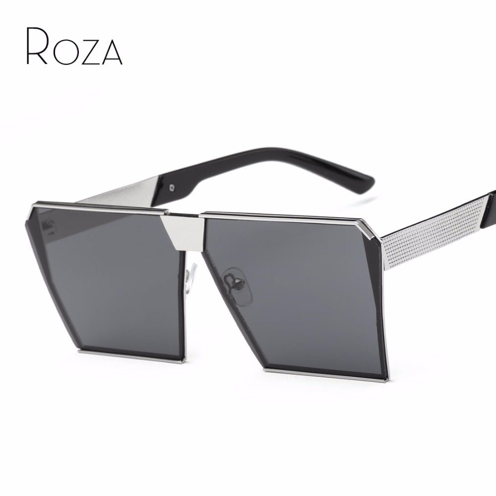 ROZA Sunglasses Men Steampunk Oversize Style Copper Frame Flat Lens Goggles Brand Designer Sun Glasses UV400 QC0436