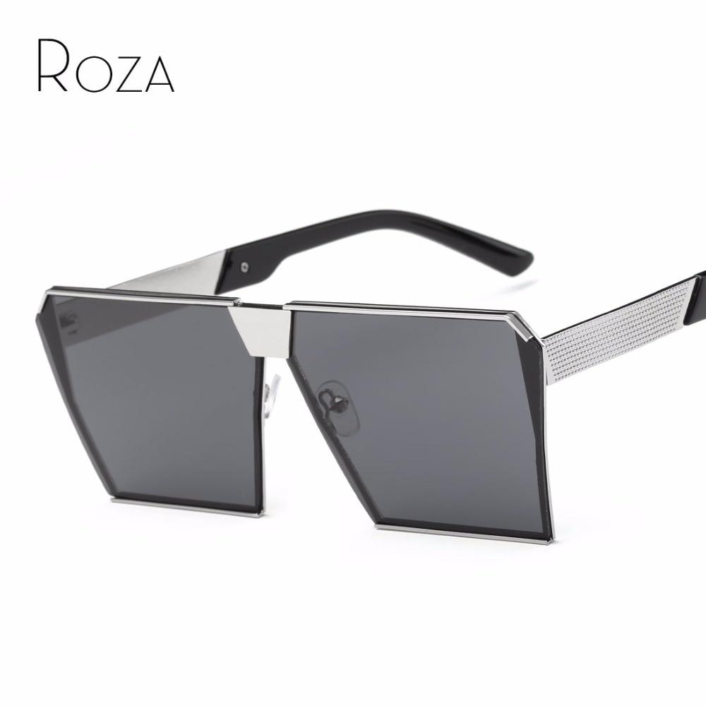 ROZA Sunglasses Men Steampunk Oversize Style Copper Frame Flat Lens Goggles Brand Designer Sun Glasses UV400 QC0436
