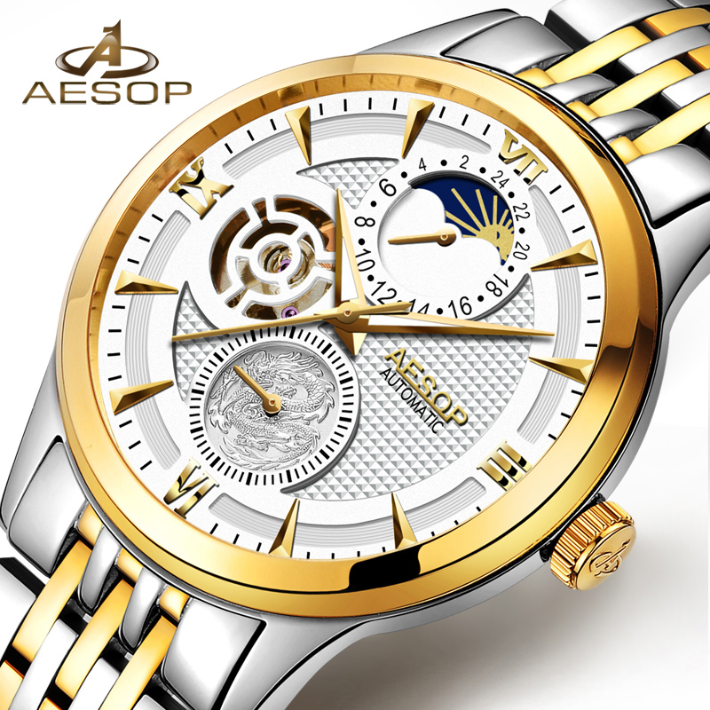 AESOP Bussiness Mens Watches Top Brand Luxury Casual Watch Men Automatic Mechanical Gold Wristwatch Male Clock Relogio Masculino sapphire automatic mechanical watch classic mens watches top brand luxury fashion male wristwatch high quality relogio masculino