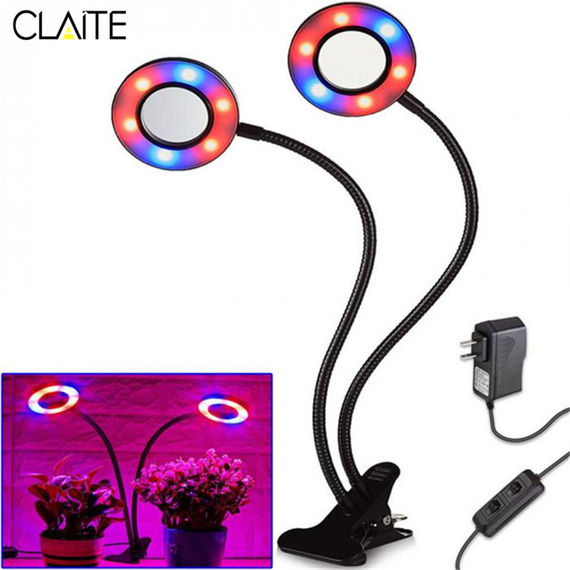 CLAITE 24W 360 Degree Adjustable LED Grow Light Round Dual Heads Clip Plant Glowing Light for Indoor Plants Growing AC 85-265V