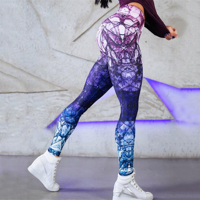 Color Block Slim High Waist  Printed Yoga Leggings