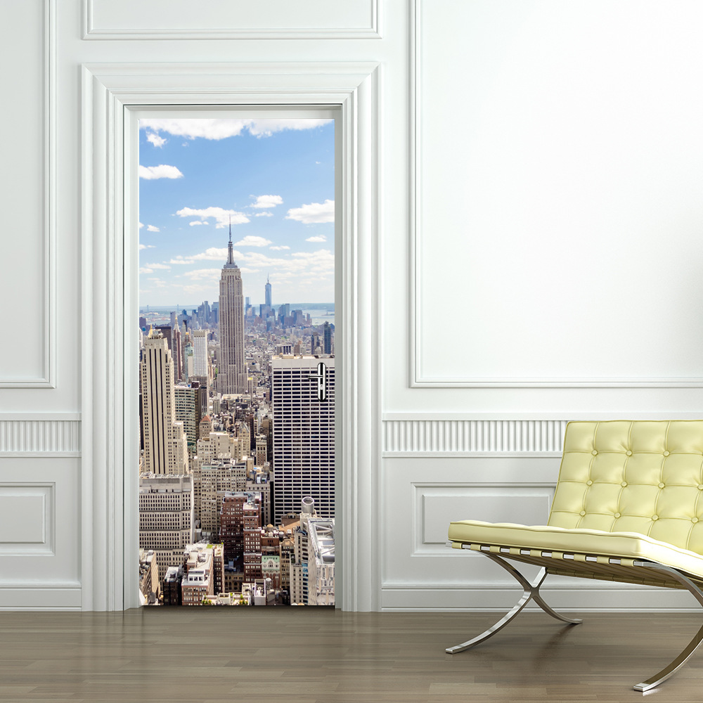 3D Door Wall Sticker Mural Modern City Skyscraper PVC Stickers Door Self-adhesive Vinyl  ...
