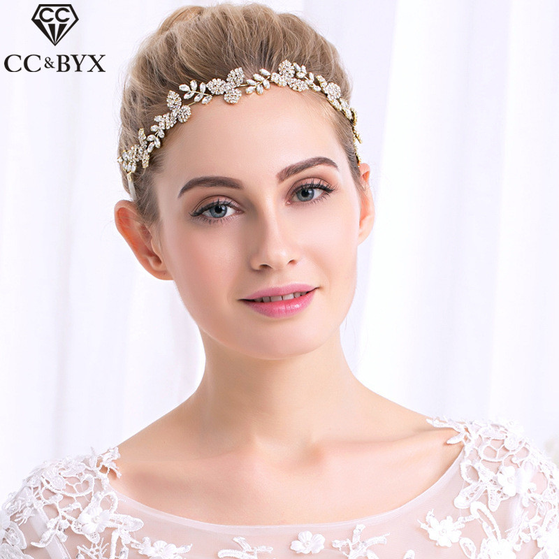 CC Headband Hairbands Crowns Frontlet Full CZ Leaf Handmade Engagement Wedding Hair Accessories For Bridal Jewelry Luxury hx107