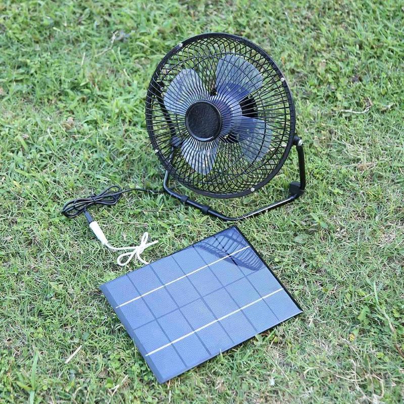 8 Inch Cooling Ventilation Silent Fan USB 5.2W 6V Solar Panel Iron Fan for Smartphone Power Bank Laptop Desktop