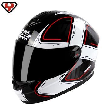 65c27796136 YOHE YH966 Moto Casco Capacete De Moto invierno Cálido impermeable a prueba  De viento De cara completa para motocicleta De carreras