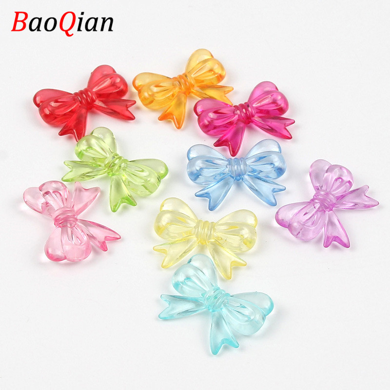 20PCS Cute Bow Acrylic Beads DIY Summer Color Beautiful Loose Beads Making Children's Toys Jewelry Accessories 23x30mm(China)