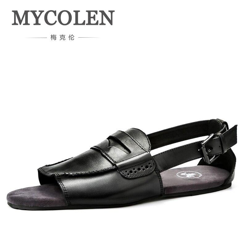 MYCOLEN Genuine Leather Men Sandals Walking Sandals For Man Fashion Brand Outdoor Male Casual Shoes Sandales Homme D Ete цена