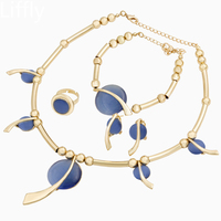 Italian Charm Women 18 Gold Jewelry Sets Crystal Necklace Bracelet Earrings Luxury Wedding Party Gift Fashion Accessories