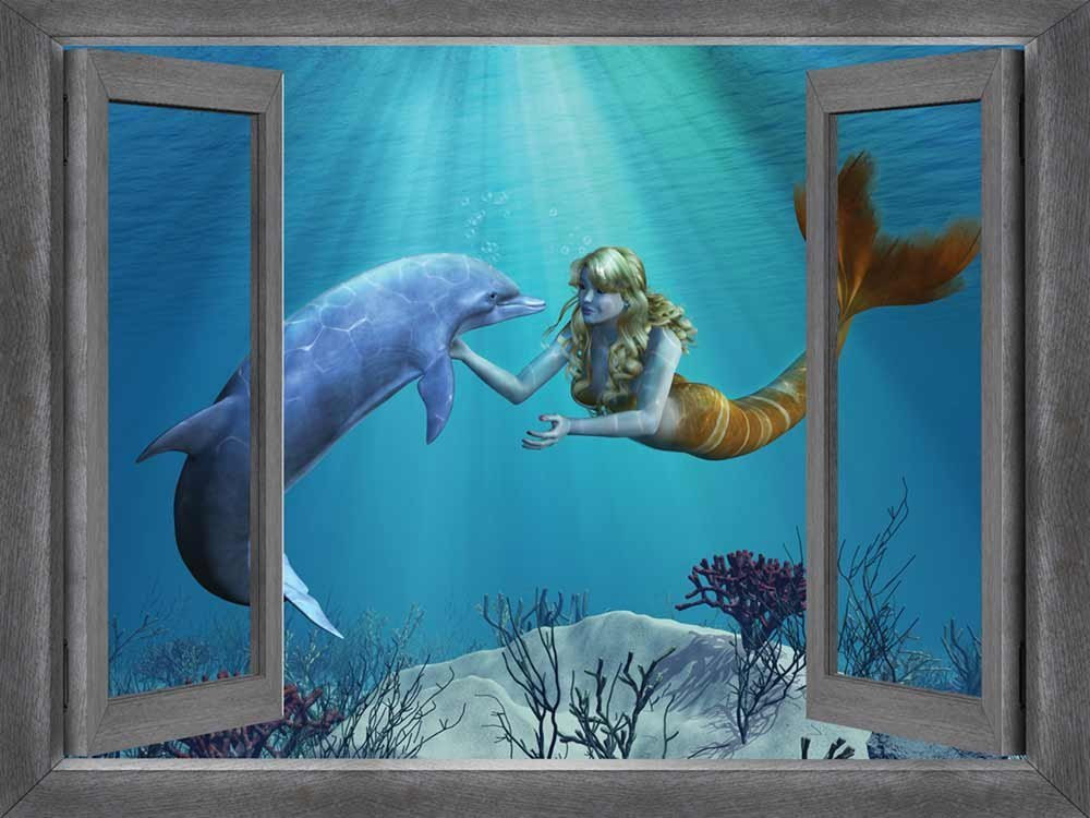 3D Hot Mermaid And Dolphin Window Frame Window Mural Vinyl Bedroom Vinyl Wallpaper Wall Decals Stickers Christmas Wall Sticker