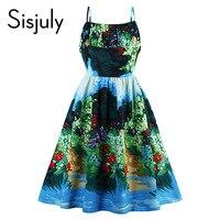 Sisjuly Vintage Dresses Ocean Style Summer Flower Print Green Elegant Dress Spaghetti Strap Sexy Women Party
