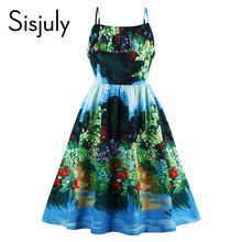 Sisjuly vintage dresses ocean style summer flower print green elegant dress spaghetti strap sexy women party vintage dresses