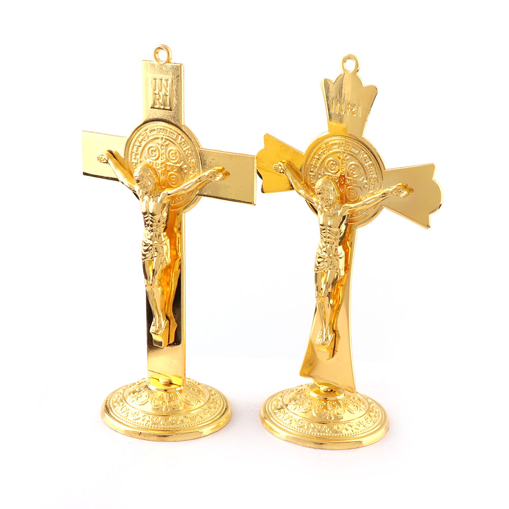 Gold Color Fashion Jesus Catholic Christian Holy Crucifix Ornaments Cross  Emmanuel Jesus Cross Statue With Base Figure Figurine