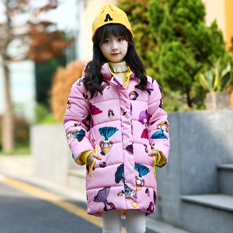 Fashion Winter Cartoon Coat Girls Long Warm Winter Jackets Girl Overcoat 6 8 10 12 14 Kids Parka Children Outerwear fashion girls winter coat long down jacket for girl long parkas 6 7 8 9 10 12 13 14 children zipper outerwear winter jackets