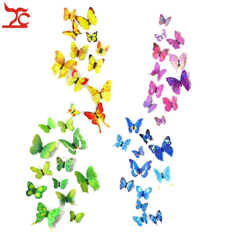 New 12 Pcs/Lot PVC Butterfly Decals 3D Wall Stickers Home Decor Poster Kids Rooms Adhesive to Wall Decoration Adesivo De Parede