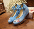 NEW Exquisite Fashion 5cm Wedge Heels Chinese Style Crane Embroidery Blue Fresh Shoes Women Canvas Leisure Pumps SMYXHX-B0016