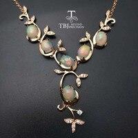 TBJ, изящные дерево deisgn ожерелье с натуральным Высочайшее качество Хорошее Огонь ethopian опал в 925 серебряных ювелирных камней с коробкой