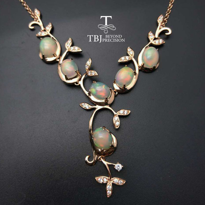 TBJ, Graceful Tree Deisgn Necklace With Natural Top Quality Good Fire Ethopian Opal  In 925 Silver Gemstone Jewelry With  Box