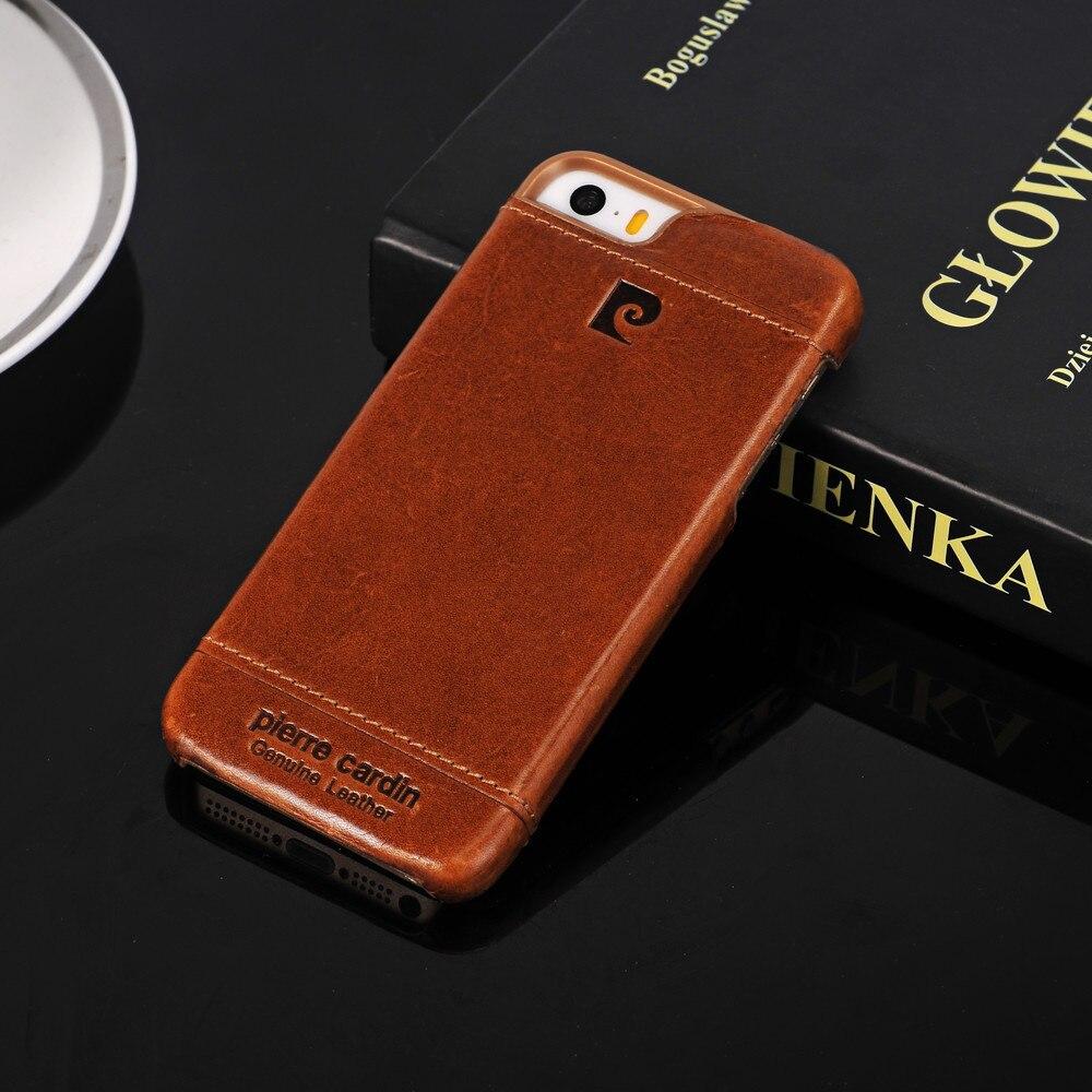 imágenes para Pierre Cardin Para iPhone 5 5S SE 6 6 s 7 Más Premium Cuero Genuino Original 2017 Del Teléfono Celular de Lujo Caso de La Contraportada