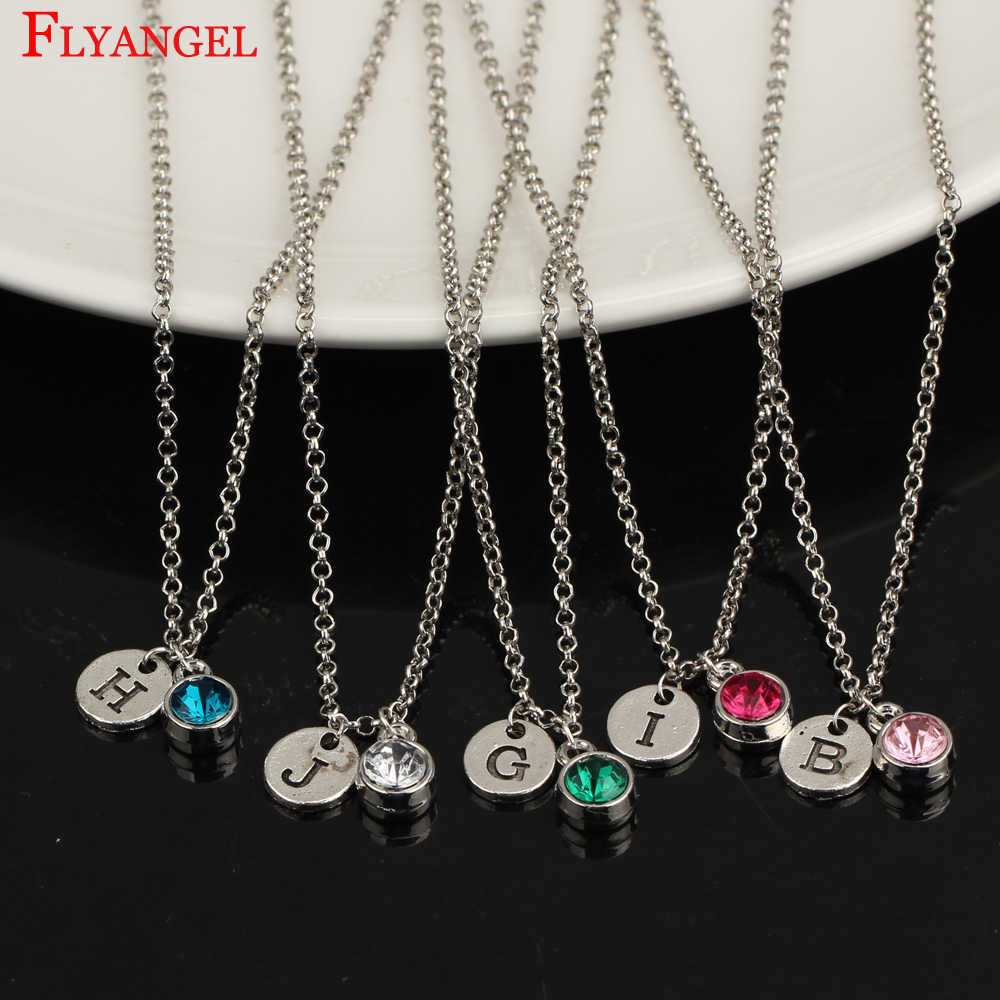 Engraved Disc Charm Alloy Jewelry Custom A-Z Initial Letter 12 Birthstone Crystal Pendant Women Girl Monogram Necklace Name Gift