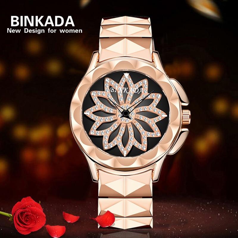 2019 nouveau BINKADA or Rose montres femmes en acier inoxydable Montre à Quartz marque Femme Montre Reloj Muje Montre Femme