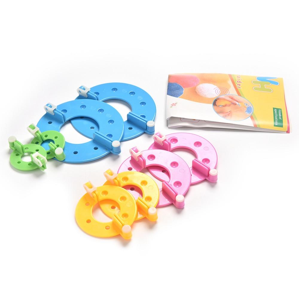 8 Pcs/Set 4 Size DIY Needle Craft Kit Set Pompom Maker Fluff Ball Tool Weaver Knitting Loom Tool Fast Shipping