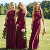Holievery Burgundy Chiffon Long Bridesmaid Dresses Zipper Back 2019 Floor Length Wedding Party Dresses Robe Mariage Femme